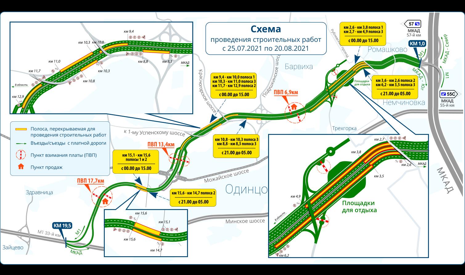 Участки ремонта автодороги Северный обход Одинцово