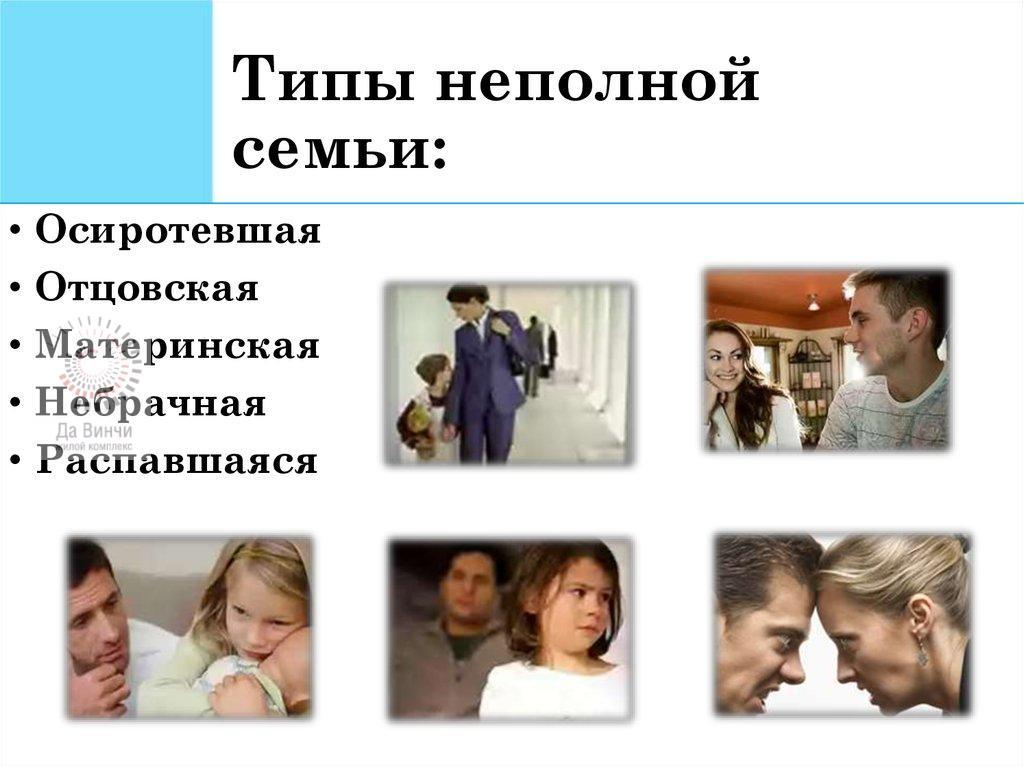 Типы неполной семьи