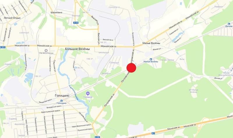 ЖД переезд Голицыно - Звенигород (Петровское шоссе) на карте